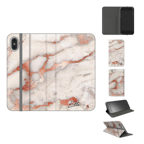 Personalised Grey x Rose Gold Marble Initials iPhone XS Case