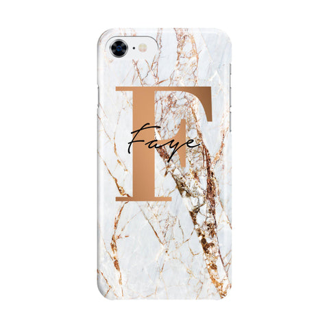 Personalised Cracked Marble Bronze Initial iPhone SE Case
