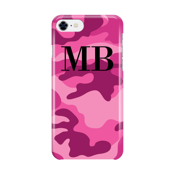 Personalised Hot Pink Camouflage Initials iPhone 8 Case