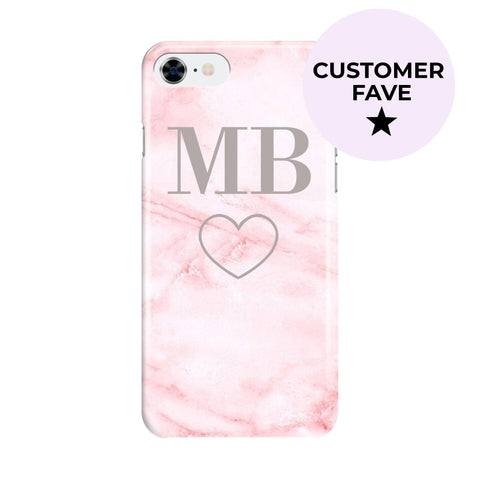 Personalised Cotton Candy Heart Marble Initials iPhone SE Case