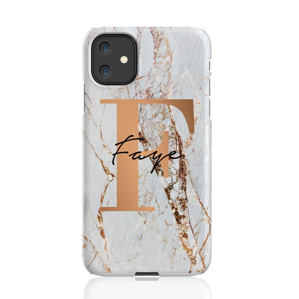 Personalised Cracked Marble Bronze Initial iPhone 11 Case