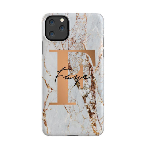 Personalised Cracked Marble Bronze Initial iPhone 11 Pro Max Case