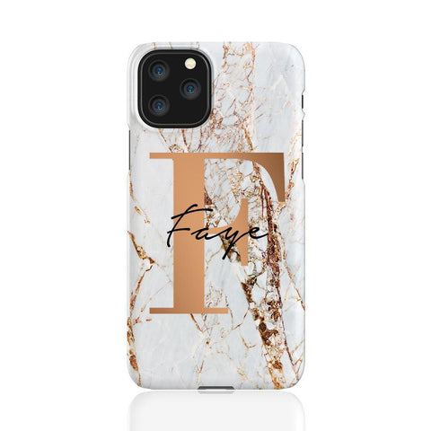 Personalised Cracked Marble Bronze Initial  iPhone 11 Pro Case