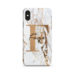 Personalised Cracked Marble Bronze Initial iPhone XS Case