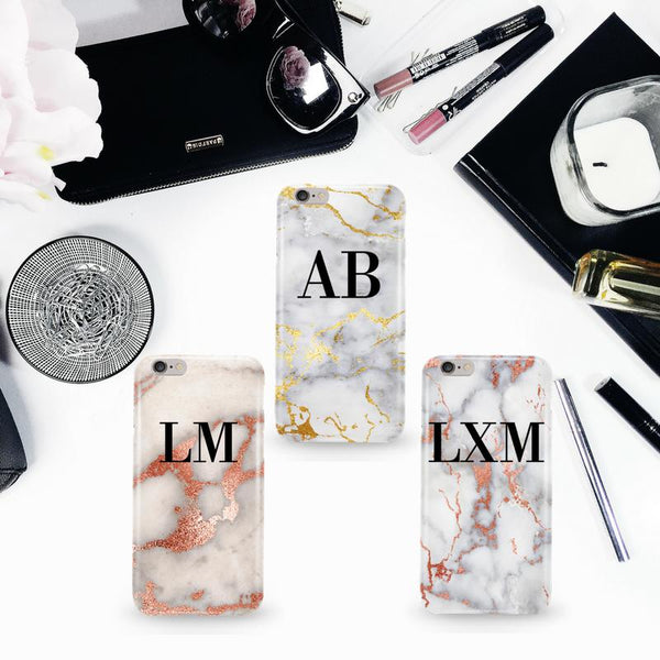 Personalised White x Gold Streaks Marble Initials Phone Case