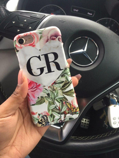 Personalised Floral Marble Heart Initials Phone Case