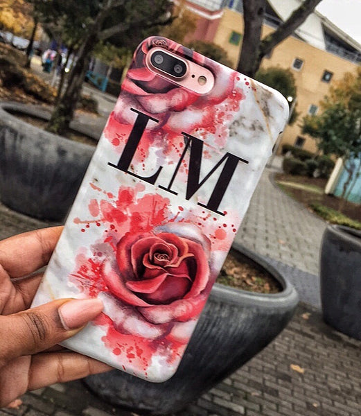Personalised Floral Rose x White Marble Initials Phone Case