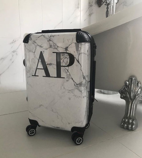 Personalised White Marble Initials Suitcase