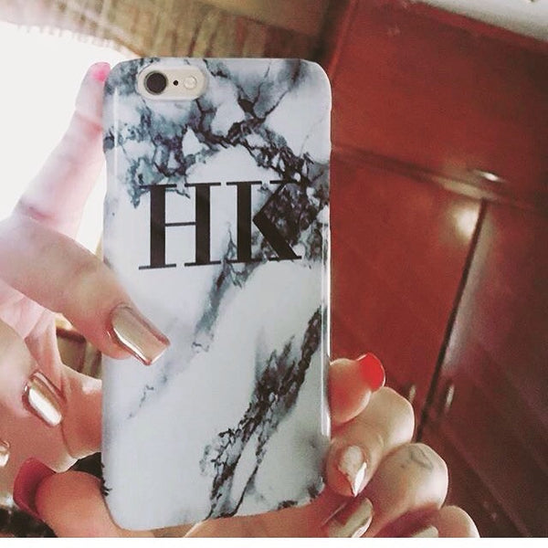 Personalised White x Black Marble Initials Phone Case