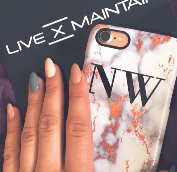 Personalised White x Rose Gold Marble Initials Phone Case