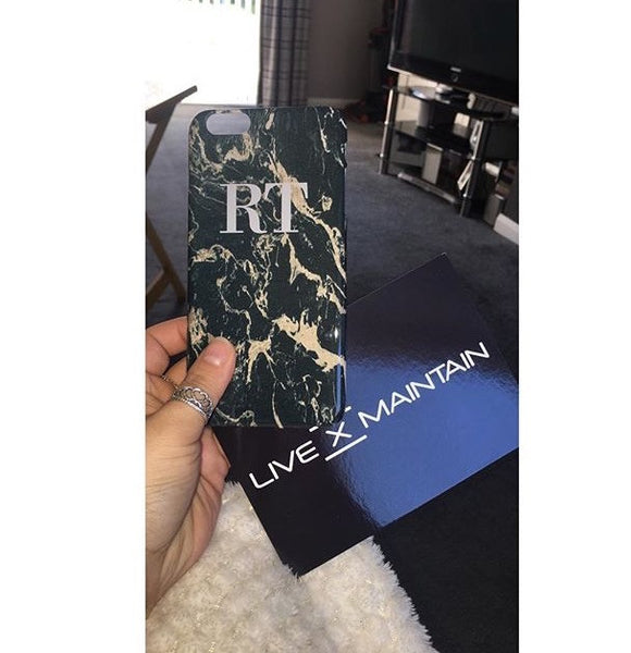 Personalised Black x Pink Marble Initials Phone Case