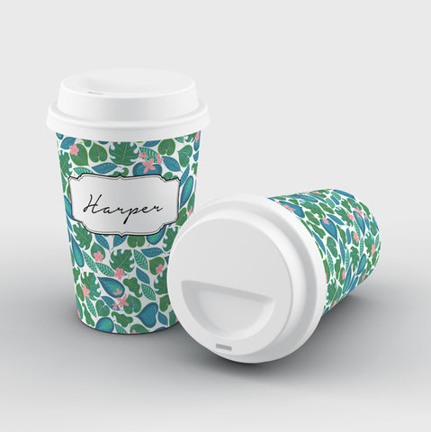 Personalised Leaf Pink Flowers Name Reusable Coffee Cup