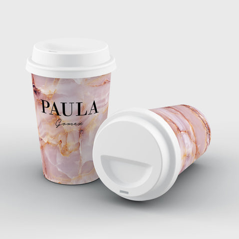 Personalised Natural Pink Marble Name Reusable Coffee Cup