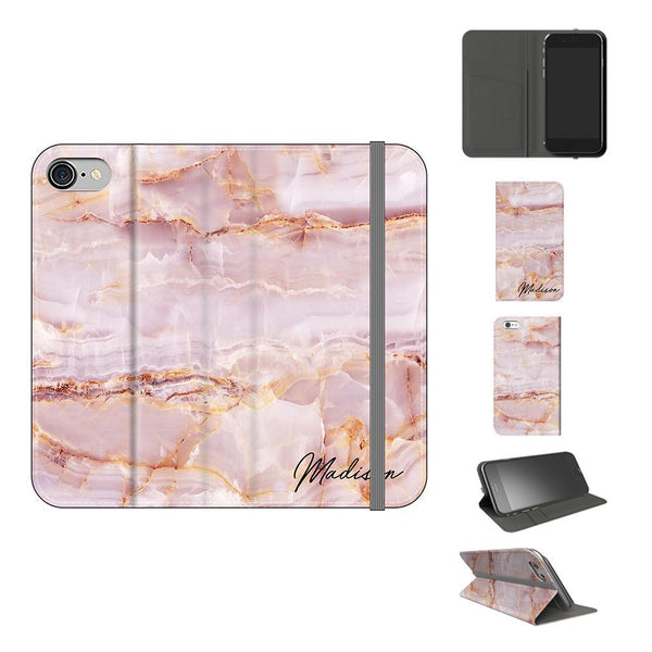 Personalised Natural Pink Marble Initials iPhone 8 Case