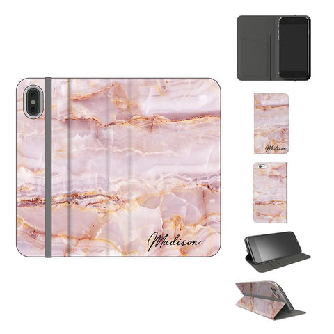 Personalised Natural Pink Marble Initials iPhone XS Case