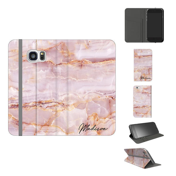 Personalised Natural Pink Marble Name Samsung Galaxy S7 Case