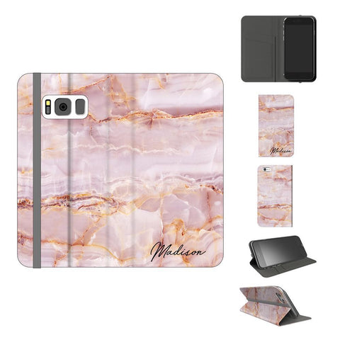 Personalised Natural Pink Marble Name Samsung Galaxy S8 Plus Case
