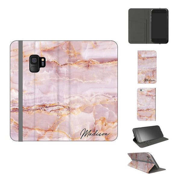 Personalised Natural Pink Marble Initials Samsung Galaxy S9 Case