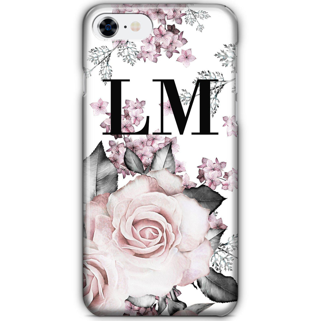 Personalised Pink Floral Rose Initials iPhone 8 Case