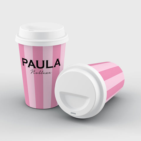 Personalised Pink Stripe Reusable Coffee Cup