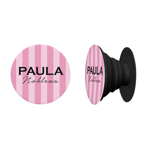 Personalised Pink Stripes Name Phone Grip