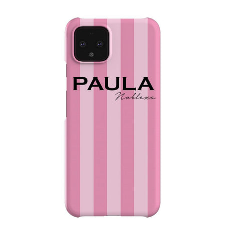 Personalised Pink Stripe Google Pixel 4XL Case