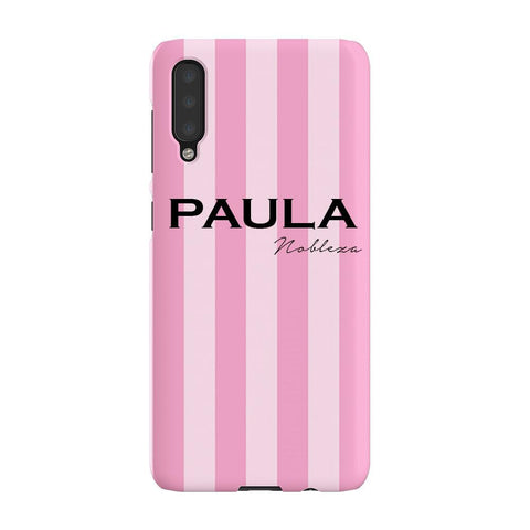 Personalised Pink Stripe Samsung Galaxy A50 Case