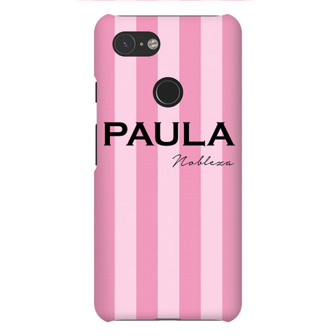 Personalised Pink Stripes Google Pixel 3 Case