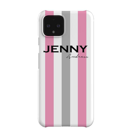 Personalised Pink x Grey Stripe Google Pixel 4 Case