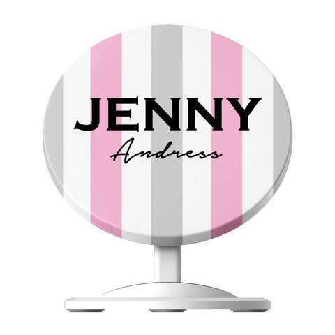 Personalised Pink x Grey Stripe  Wireless Charger