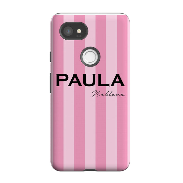 Personalise Pink Stripe Name Google Pixel 2 XL Case