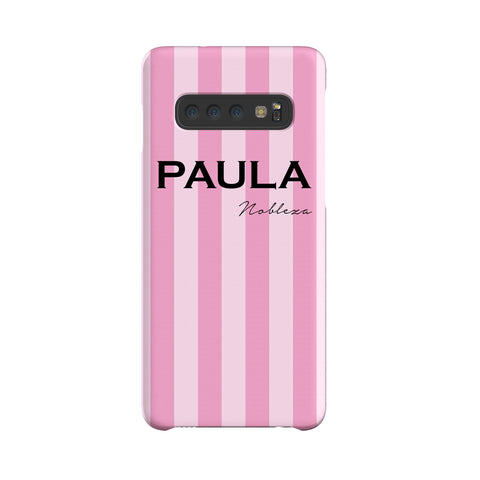 Personalised Pink Stripe Samsung Galaxy S10 Case