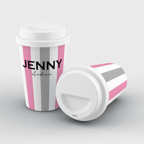 Personalised Pink x Grey Stripe Reusable Coffee Cup