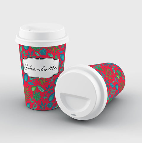 Personalised Red Leaf Name Reusable Coffee Cup