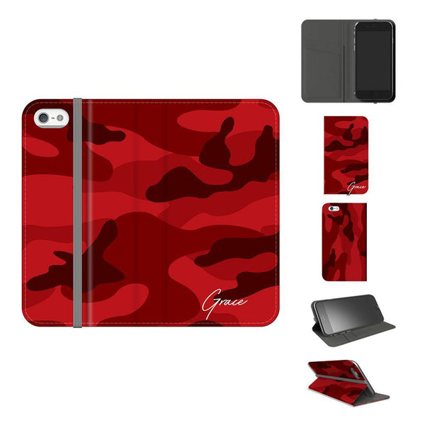 Personalised Red Camouflage initials iPhone 5/5s/SE Case