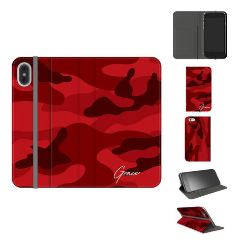 Personalised Red Camouflage Initials iPhone XS Case
