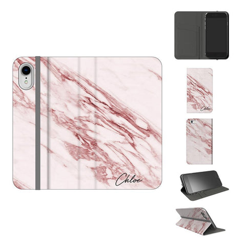 Personalised Rosa Marble Initials iPhone XR Case