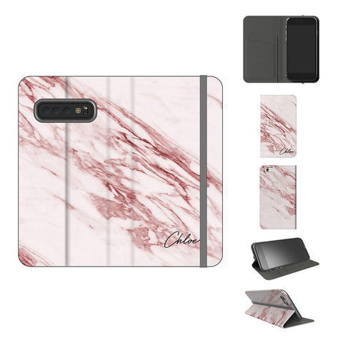 Personalised Rosa Marble Initials Samsung Galaxy S10 Case