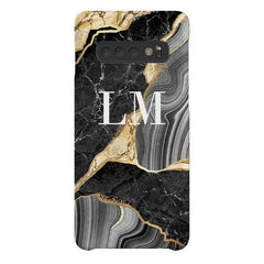 Personalised Black and Gold Marble Name Samsung Galaxy S10 Plus Case