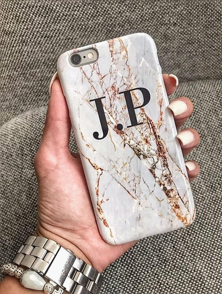 Personalised Cracked Marble Initials Phone Case