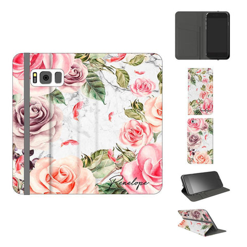 Personalised Watercolor Floral Initials Samsung Galaxy S8 Case