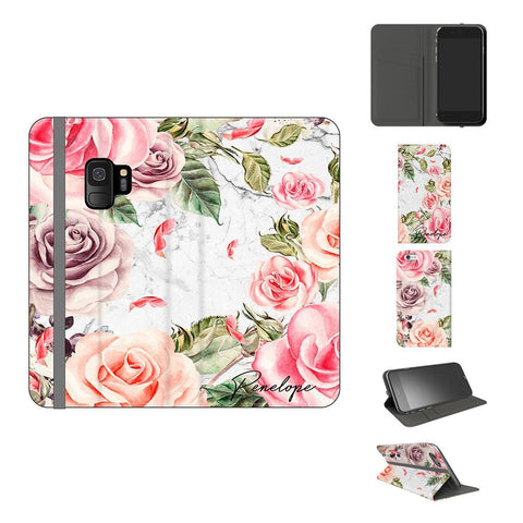 Personalised Watercolor Floral Initials Samsung Galaxy S9 Case