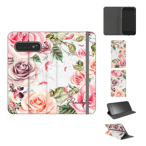 Personalised Watercolor Floral Initials Samsung Galaxy S10 Case