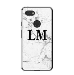 Personalised White Marble x Black Initials Google Pixel 3 XL Case