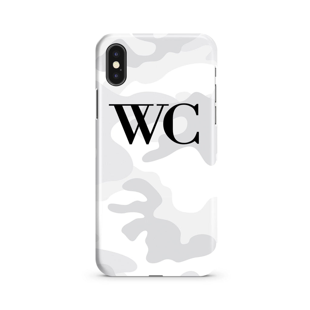 Personalised White Camouflage Initials iPhone XS Max Case