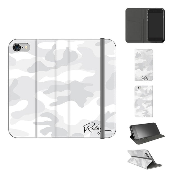 Personalised White Camouflage Initials iPhone 7 Case