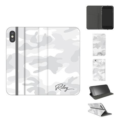Personalised White Camouflage Initials iPhone X Case