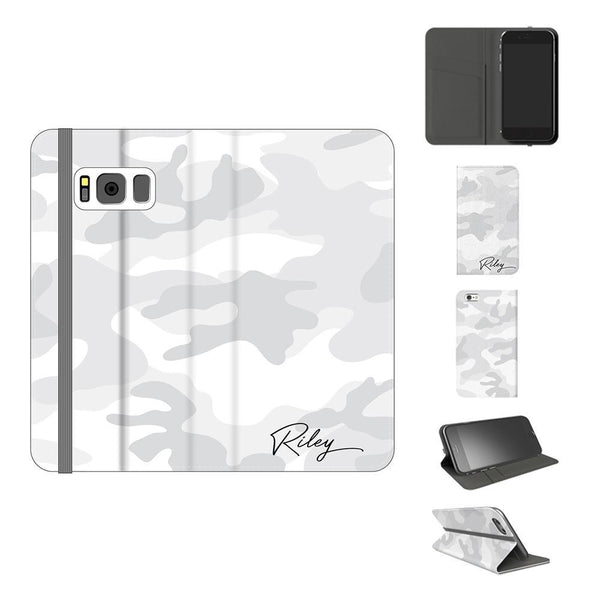 Personalised White Camouflage Initials Samsung Galaxy S8 Plus Case