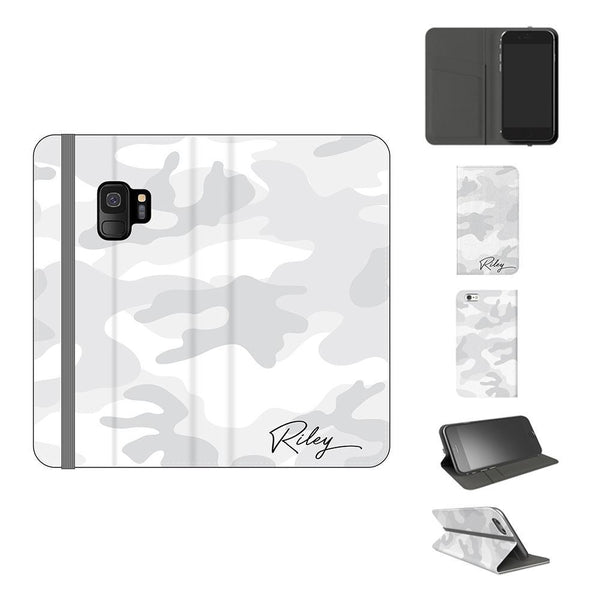 Personalised White Camouflage Initials Samsung Galaxy S9 Case