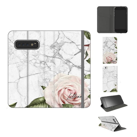 Personalised White Floral Marble Initials Samsung Galaxy S10 Case